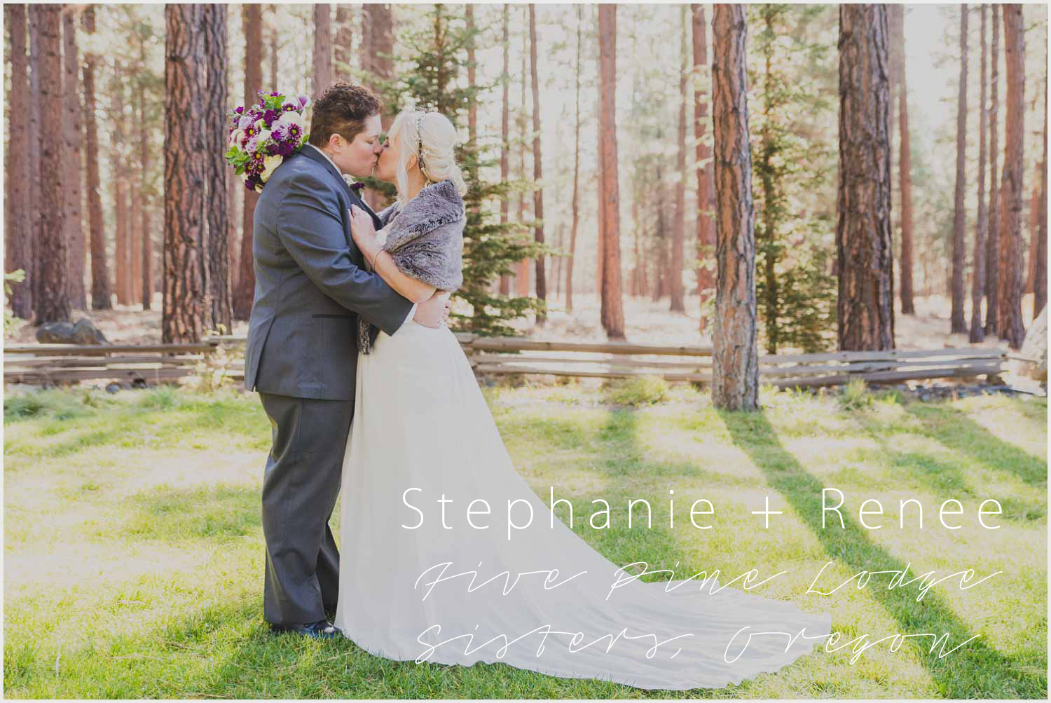Newly wed brides kissing in the sunlight through trees at Five Pine Lodge