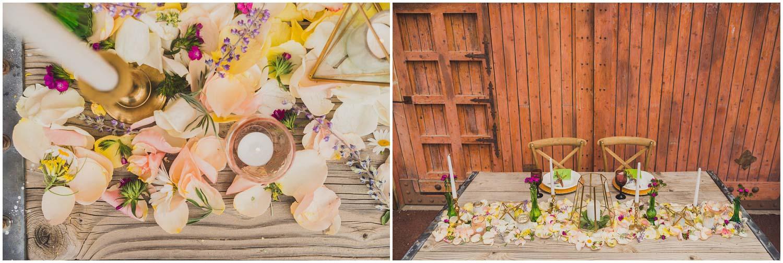 wedding sweetheart table inspiration with flower petal runner