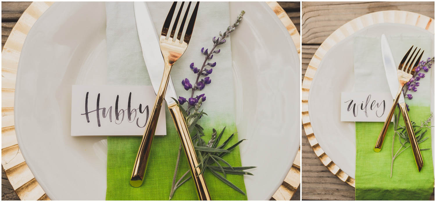 newly wed place settings with calligraphy name tags hubby and wifey