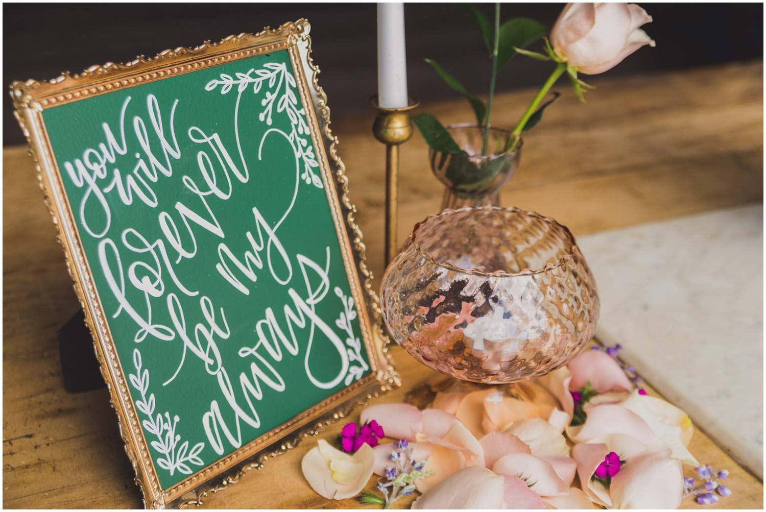 green chalkboard you will forever be my always calligraphy sign on cake table
