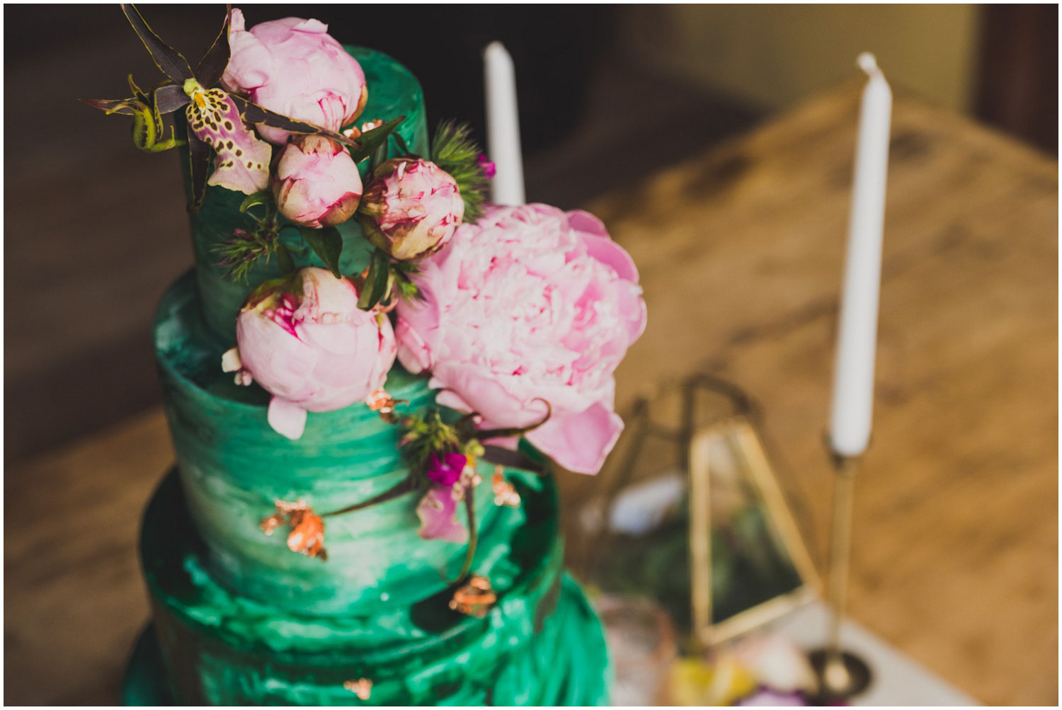 foxtail bakeshop emerald green watercolor cake with pink peonies and orchids