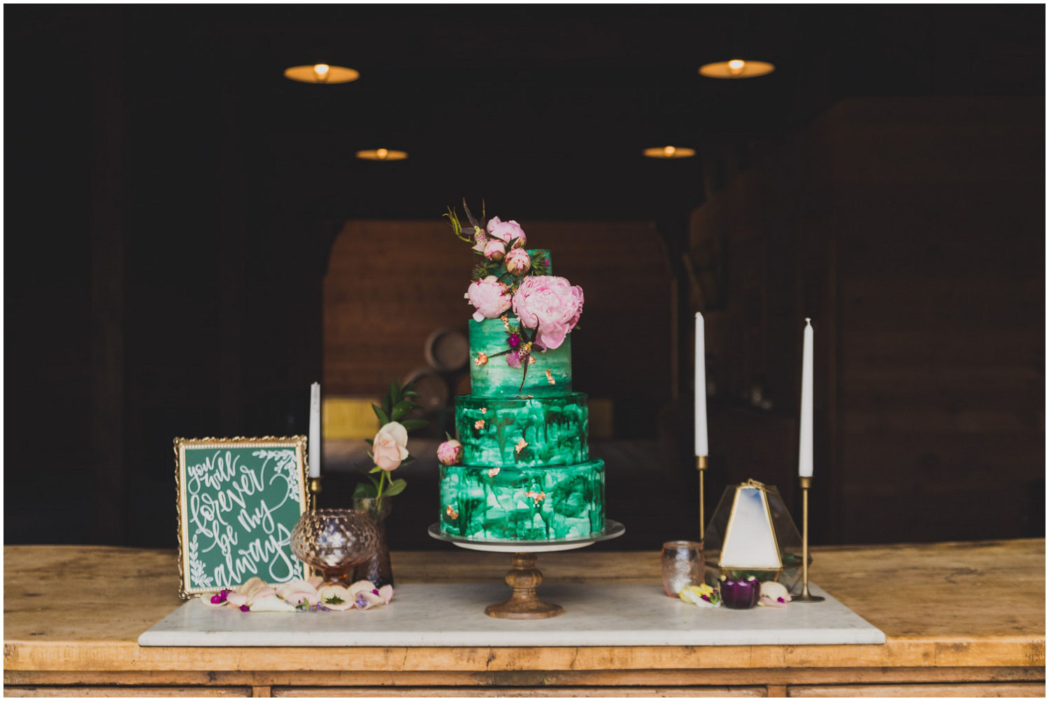foxtail bakeshop emerald green watercolor cake with pink peonies