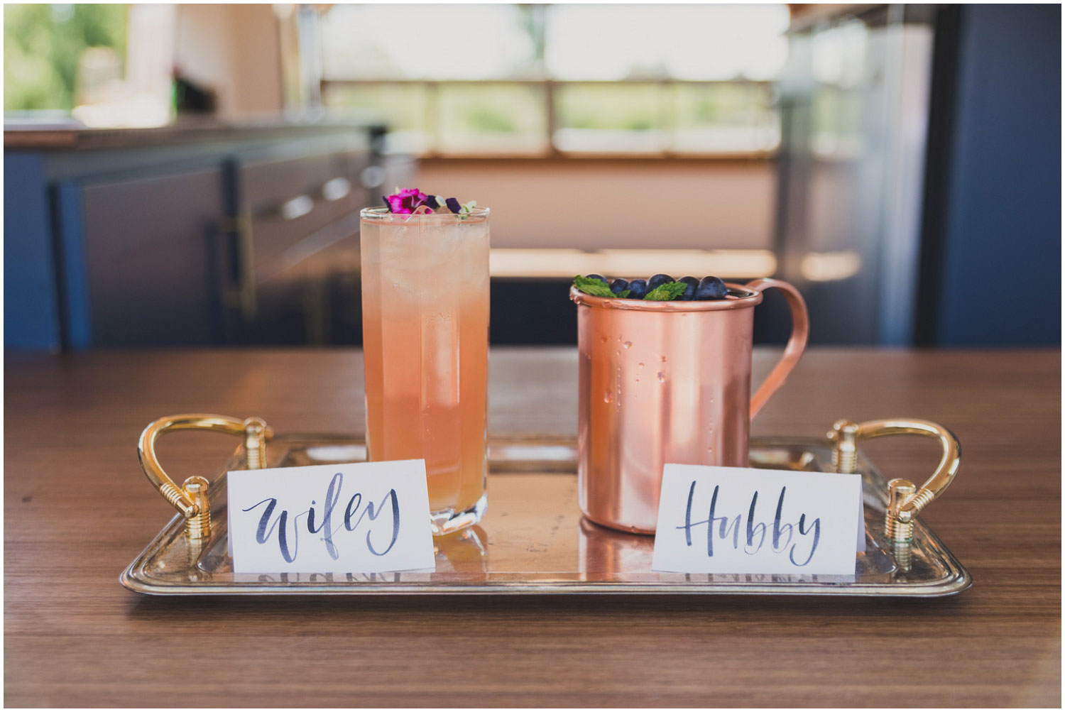 signature cocktail inspiration garden mule and the frenchy by swig rig with hubby and wifey name tags
