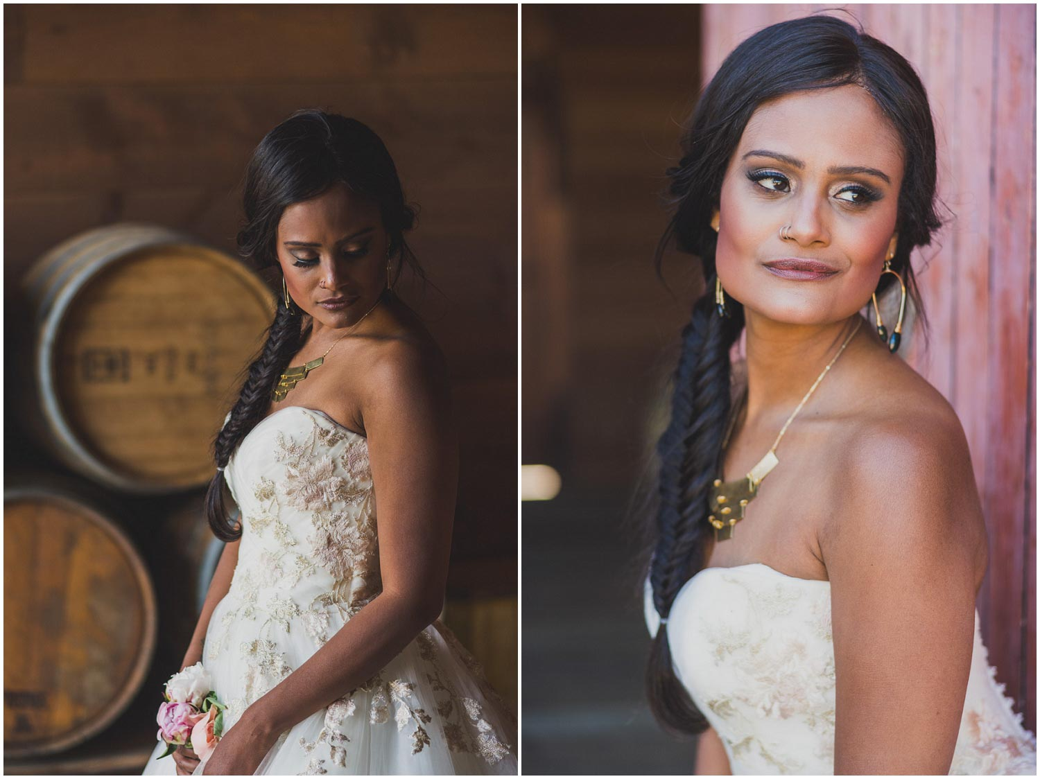 bride in ballgown with floral embroidery and custom jewelry
