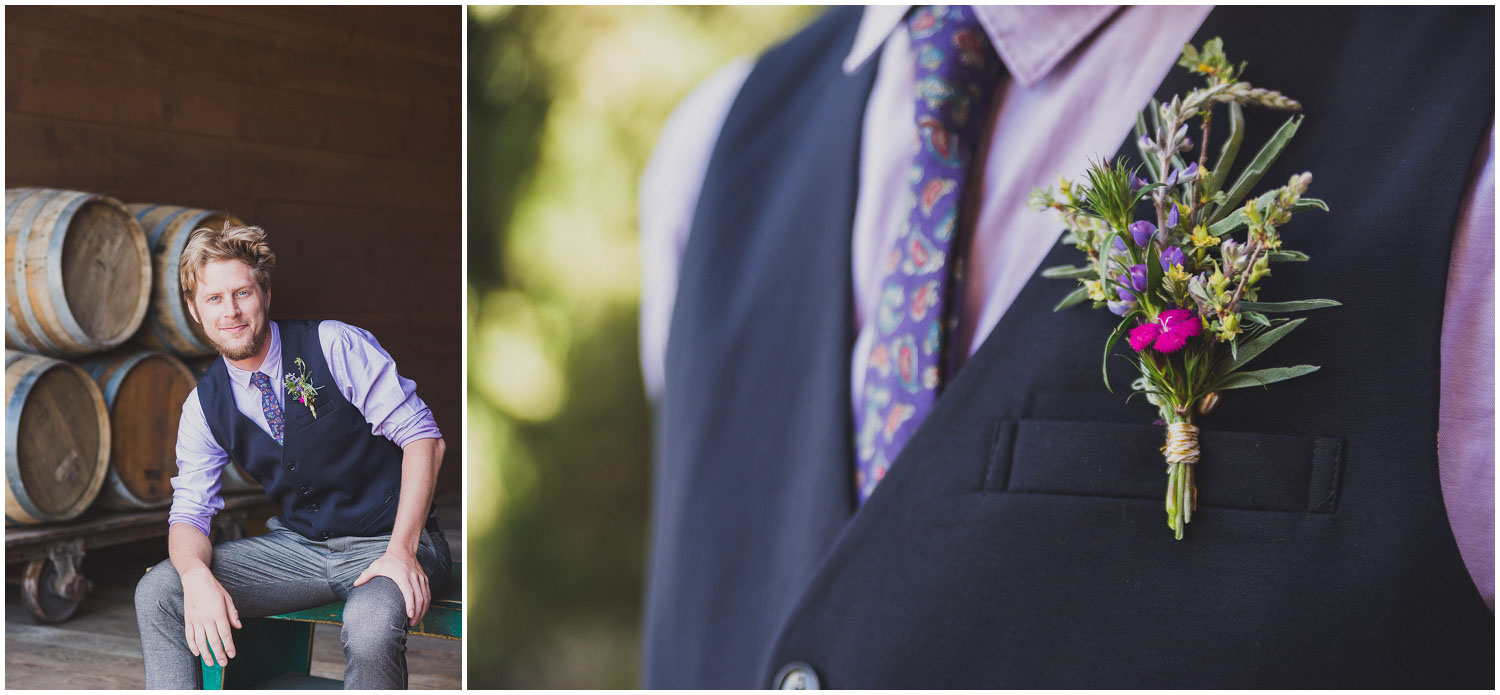 groom in watercolor inspired outfit with wildflower boutonniere