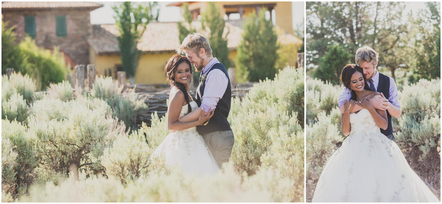 bride and groom snuggling outside the tuscan stables ranch at the canyons terrebonne oregon